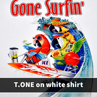 T.ONE on white shirt